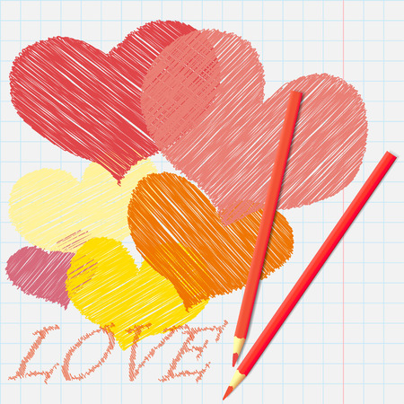Pencil drawing hearts on a sheet of notebook. Love background Ilustracja