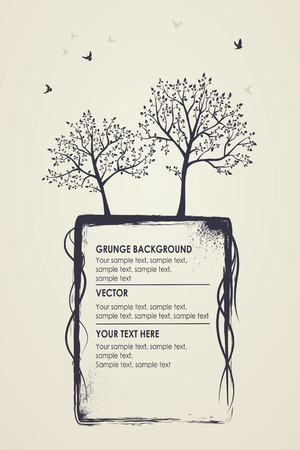 Grungy natural background. Silhouettes of trees and birds Ilustracja