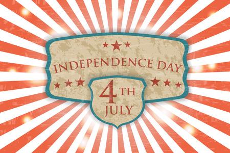 Retro Poster - Independence Day. Vintage light background