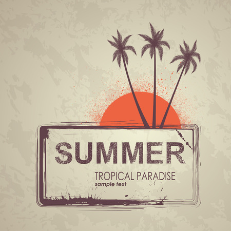 Summer grunge background. Vector banner with palm trees and sun