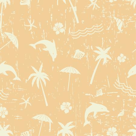 repetition: Retro summer background. Seamless grunge yellow pattern Illustration