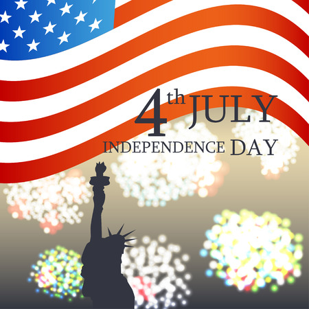 Independence Day - July 4. Vector silhouette of the Statue of Liberty on the background of fireworks. American Flag Design