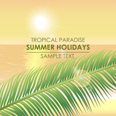 tranquil scene: Summer background - a tropical paradise. Palm branch on a background of the sea and sunset Illustration