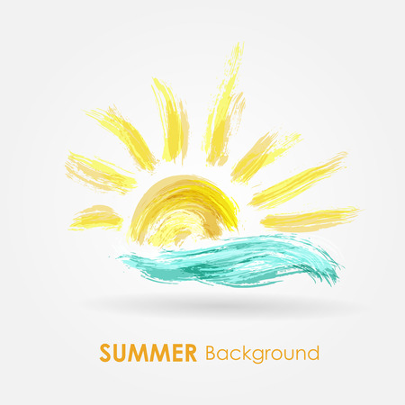 cartoon palm tree: Summer background. Sea wave and sun