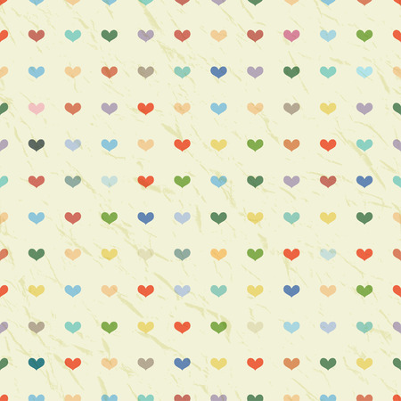 Retro grunge background with hearts. Vector seamless pattern