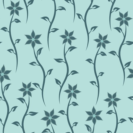Floral seamless texture. Vector blue nature background