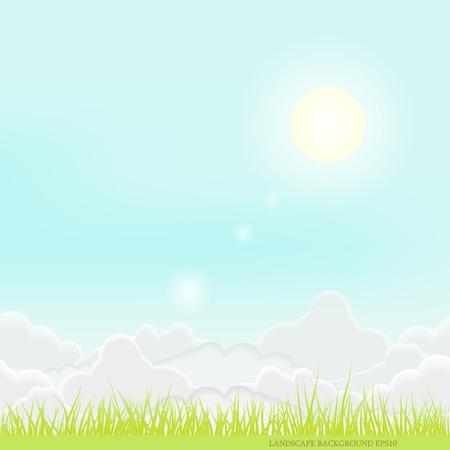 Sunny landscape nature sky art  idyllic background