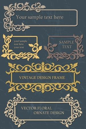 Vector vintage design set of frames with floral ornament background
