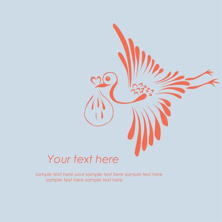 stork flying with bundle: Stork delivering a newborn baby. Vector illustration Illustration