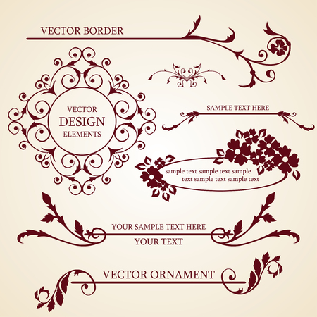 Vector set of decorative borders and frames