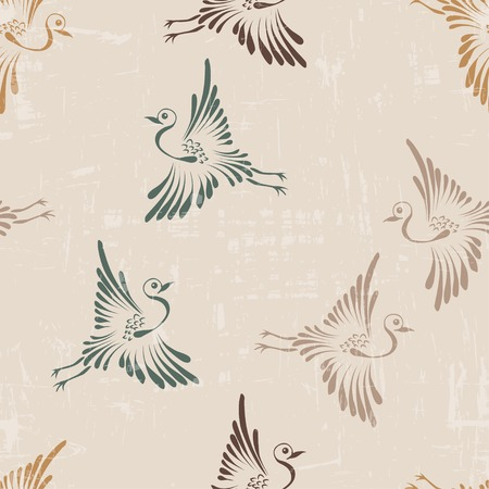 Vector seamless retro vintage background with storks
