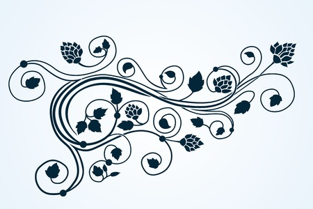Vector curly nature design floral ornament background
