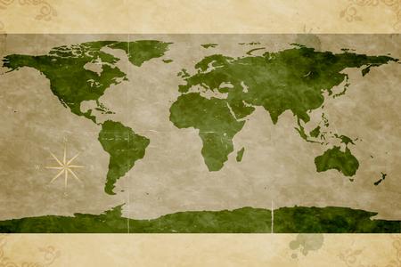 世界の地図。古い紙の質感。グランジ効果