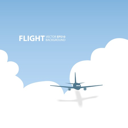 Vector airplane in the sky. Flight background Ilustracja