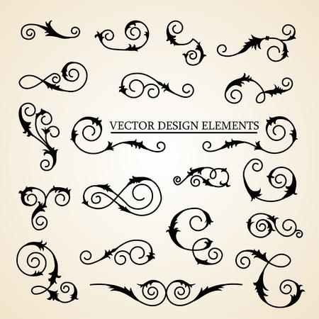 Vector set of decorative curly design elements