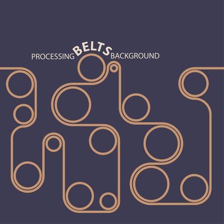 Processing belts. Conveyor  industry technology line background Ilustracja