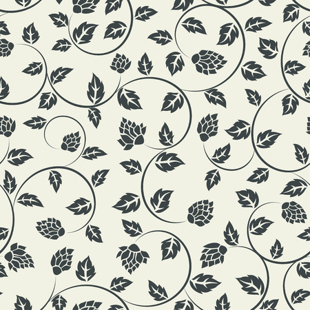 Vector seamless floral pattern curly fabric background Ilustracja