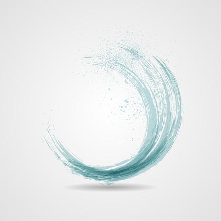 Abstract grunge blue banner. Vector wave illustration