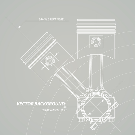 technical background: Abstract technical construction gear background. Vector pistons