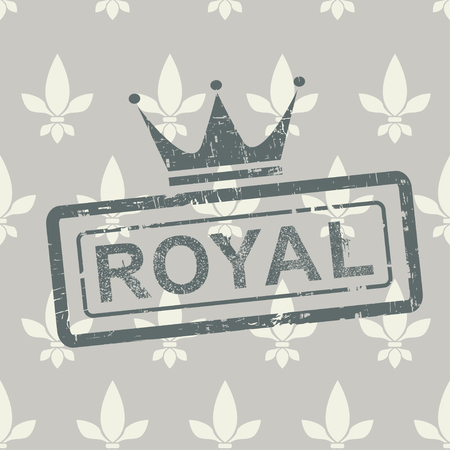 Grunge royal stamp on seamless vector background