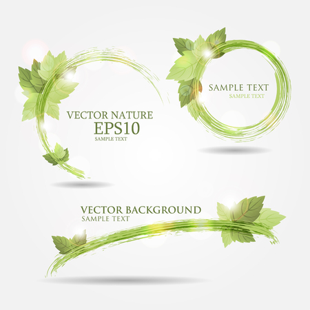Set of three banners with fresh green leaves and bright light Ilustracja