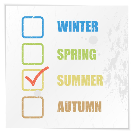 Checklist and mark the seasons. Grunge vector