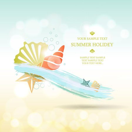 background image: Summer background. Abstract wave with sea shells and stars Illustration
