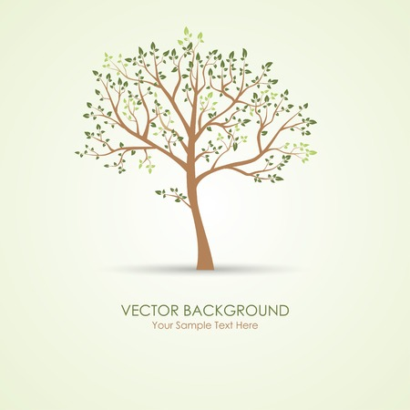 Vector green tree spring image garden background Ilustracja