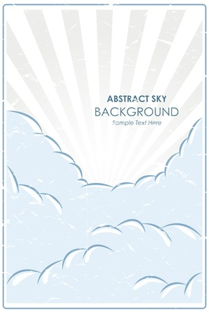Abstract retro poster with a blue sky background