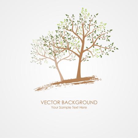 Tarjeta con el árbol estilizado y fondo del texto Ilustración de vector