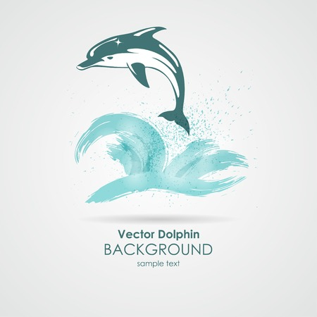 Dolphin in water blue splash sea background Ilustracja