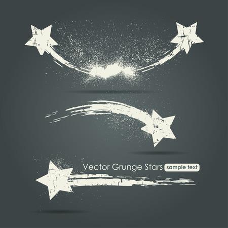Grunge ensemble de étoiles filantes, vecteur, fond