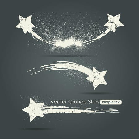 Grunge set of shooting stars vector background Vettoriali