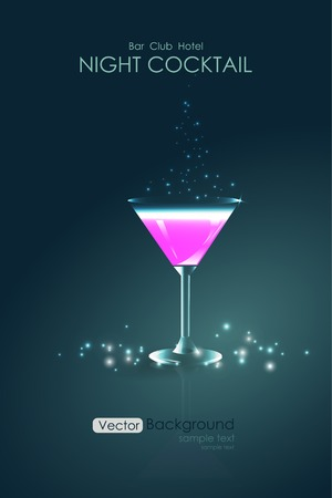 Pink cocktail in a glass goblet background