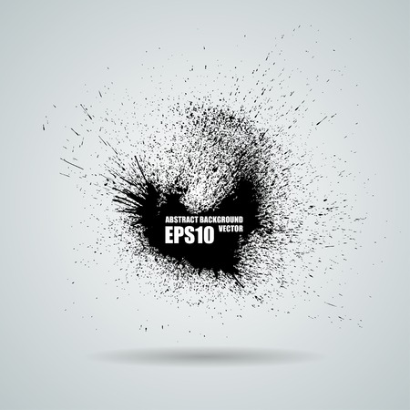 Vector black banner with ink splashes background Vettoriali