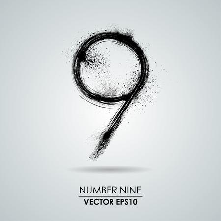 numero nueve: Vector grunge número - nueve. Elemento de diseño moderno