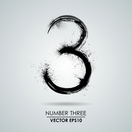 Vector grunge number - three. Element modern design Zdjęcie Seryjne