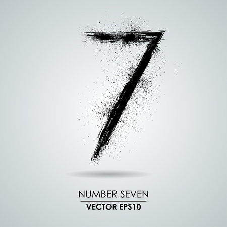 Vector grunge number - seven. Element modern design