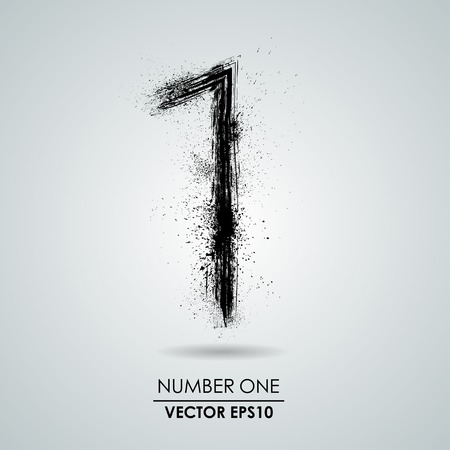 Vector grunge number - one. Element modern design