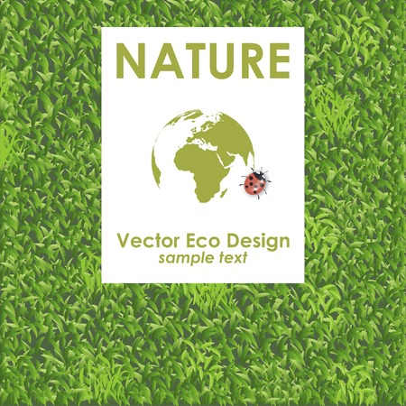 Vector green grass texture background. Eco Design