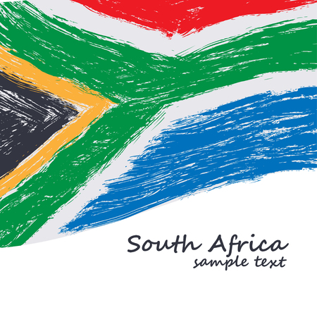 south african: South African flag. Vector grunge texture background