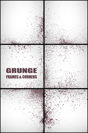 small group of objects: Vector set of grunge frames and corners background