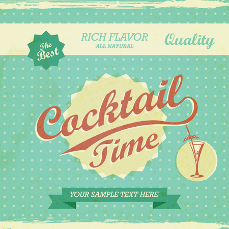 Vintage Design - cocktail time background. Vector retro typography Vettoriali