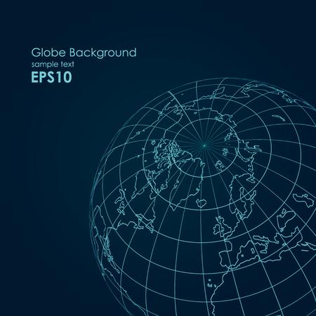 Vector globe earth line modern design background
