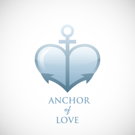 Anchor symbol of love vector blue icon background