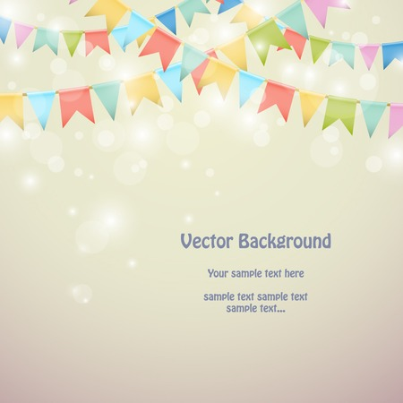 Holiday background with colored bunting flags. Vector illustration Stock Illustratie