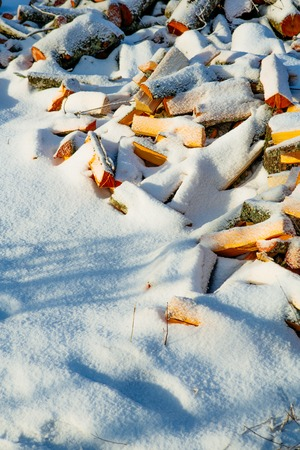 chopped wood under the snow