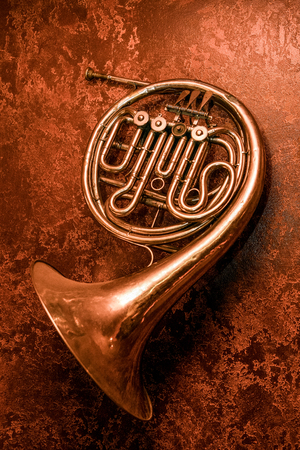 old horn on red wall
