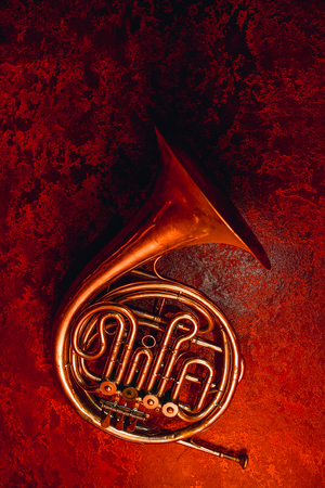 Abstract old horn on red wall background