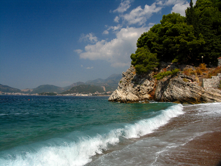 bay in Montenegro. Small old town by the sea. Mediterranean seascape